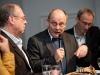 Artur K. Vogel (Chefredaktor Der Bund), Ueli Eckstein (Espace Media Groupe) und Urs Rueb (Media Plus AG) am 19. Berner Medientag zum Thema <<Ausgepresste Presse - ist die abonnierte Zeitung am Ende?>> im Radiostudio Bern.