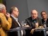 Roland Jeanneret, Artur K. Vogel (Chefredaktor Der Bund), Ueli Eckstein (Espace Media Groupe) und Urs Rueb (Media Plus AG) am 19. Berner Medientag zum Thema <<Ausgepresste Presse - ist die abonnierte Zeitung am Ende?>> im Radiostudio Bern.