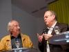 Roland Jeanneret und Artur K. Vogel (Chefredaktor Der Bund) am 19. Berner Medientag zum Thema <<Ausgepresste Presse - ist die abonnierte Zeitung am Ende?>> im Radiostudio Bern.