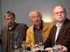 Hanspeter Sporri (Publizist), Roland Jeanneret und Artur K. Vogel (Chefredaktor Der Bund) am 19. Berner Medientag zum Thema <<Ausgepresste Presse - ist die abonnierte Zeitung am Ende?>> im Radiostudio Bern.