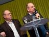 Artur K. Vogel (Chefredaktor Der Bund) und Ueli Eckstein (Espace Media Groupe) am 19. Berner Medientag zum Thema <<Ausgepresste Presse - ist die abonnierte Zeitung am Ende?>> im Radiostudio Bern.